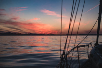 Sunset while rounding Gray Bay, Haida Gwaii