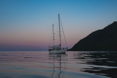 Candine anchored at Mathers Creek on the East Coast of Moresby Island, Haida Gwaii
