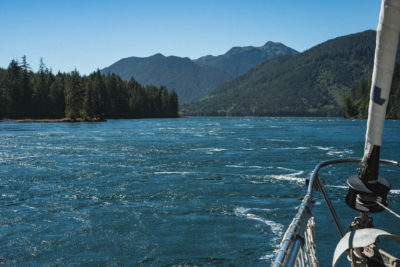 Approaching the West Narrows in Skidegate Channel, Haida Gwaii